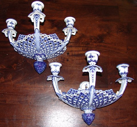 Royal Copenhagen Blue Fluted Full Lace Wall candelabra #1111