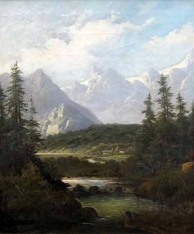 German Artist (19th c.) Landscape, Alps.