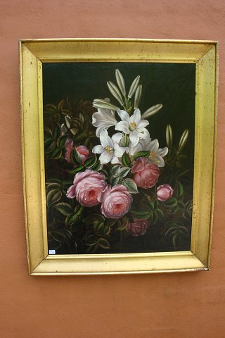 Flowerpainting by I.L. Jensen from 1840-1880. H: 69 * W: 56, in good condition. 5000 m2 showroom.