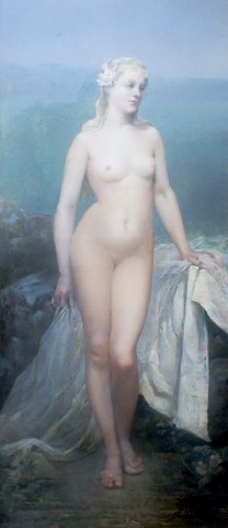 A large French oil painting, indistinctly signed, dated 1887. Young naked blonde woman.