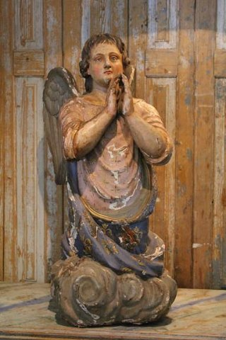 Fantastic antique French Angel in carved wood