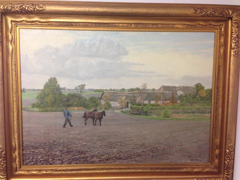 Large and nice Oil painting by Ole Ring with motif of landscape, farm house and man with horse