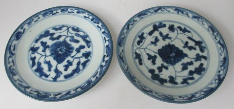 Pair of blue-painted Chinese dishes, 18/19. century.