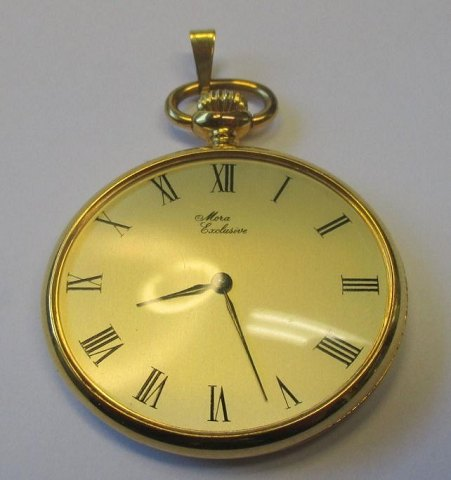 Pocket watch, gold plated, Mora, Exclusive, oval, 20th century.