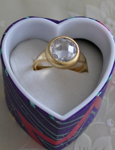 Gold plated silver ring with crystal stones - Size: 57