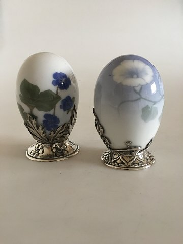Pair of Royal Copenhagen Art Nouveau Eggs with A. Michelsen Stirling Silver Mounted Pieces.