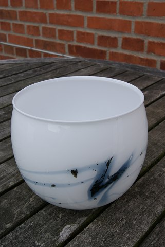 Holmegaard glass art. Bowl of milk white glass H 14.5cms