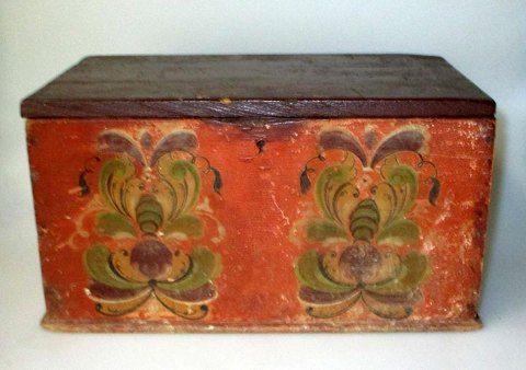 Antique rose painted box, 19th century. Norway.