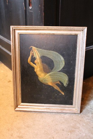 1800 century oil painting on wood of graceful, floating woman in old silver frame .