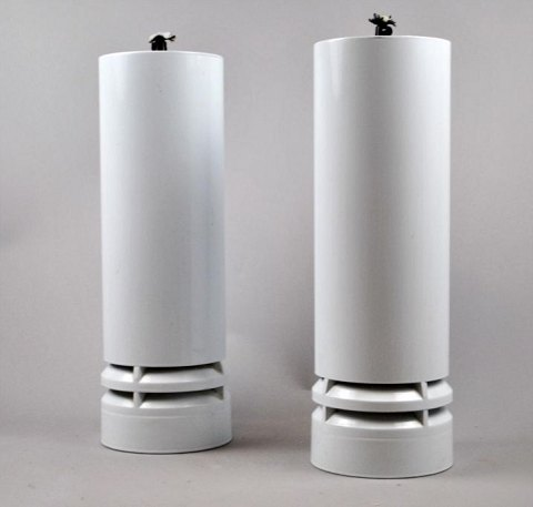 A pair of cylindrical design lamps, 20th century. Denmark.