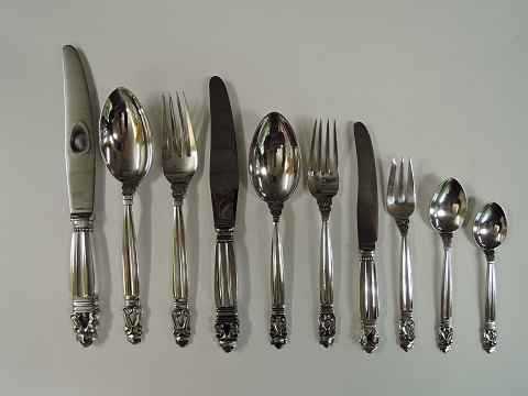 Georg Jensen Sterling (925) Akorn 12 person's cutlery 135 parts