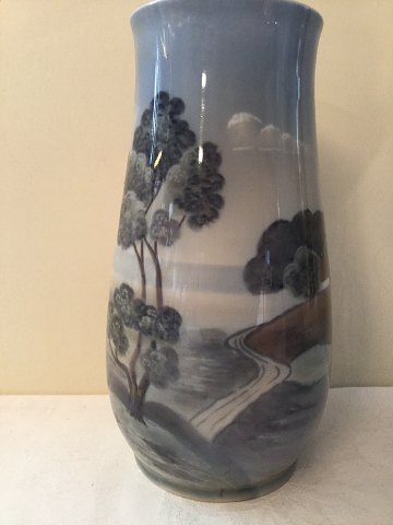 Bing & Grondahl nr. 505-5209 Vase with landscape with road and small house. Height 21 cm. 1st sort in good condition.