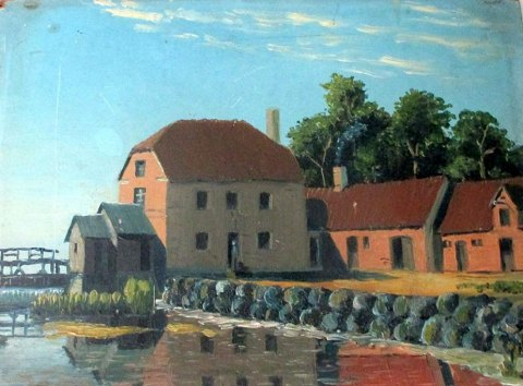Danish artist (19th century): A water mill.
