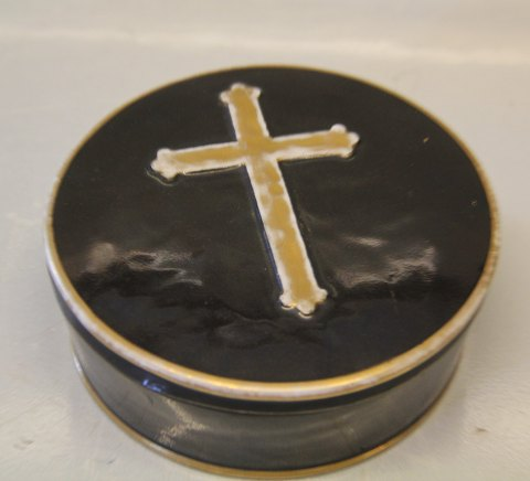 Royal Copenhagen Antique Altar Bread Box black with gold and cross - used for church service 5 x 14.5 cm Wore on gold amd inside chips see images