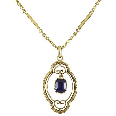 Bernhard Hertz; Necklace of 14k gold set with a sapphire