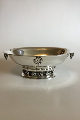 Georg Jensen Hammered Sterling Silver Oval Centerpiece Bowl with Grape motif No 296B