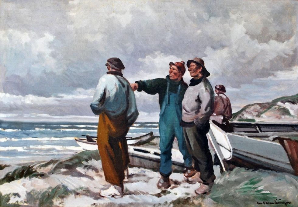 Valentines, Chr. (1903 - 1985) Denmark: Fishermen on the beach.