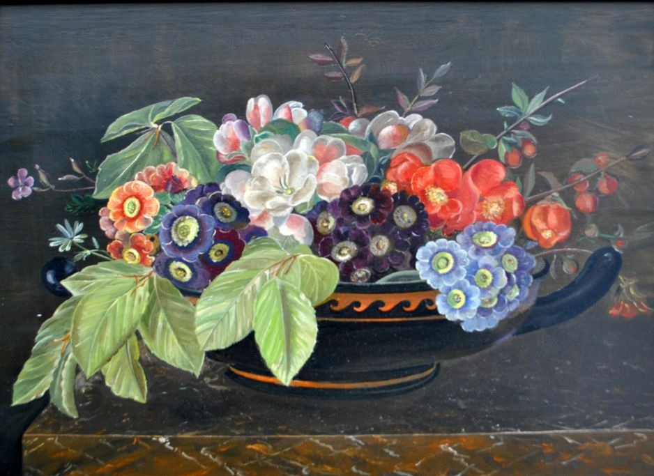 Danish artist (20th ann.): Flowers on a dish.