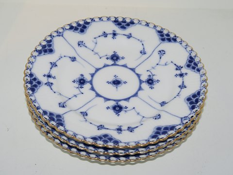 Blue Fluted Full Lace with gold edge Side plates 17 cm. from 1850-1893