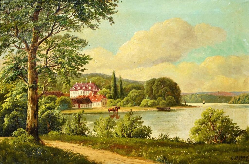 Danish artist, 19th century. A manor house by a lake.