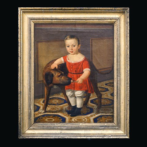 Unknown artist: Portrait of a child with dog. Oil on canvas. Circa 1830-50. Visible size: 36x29cm. With frame: 46x39cm