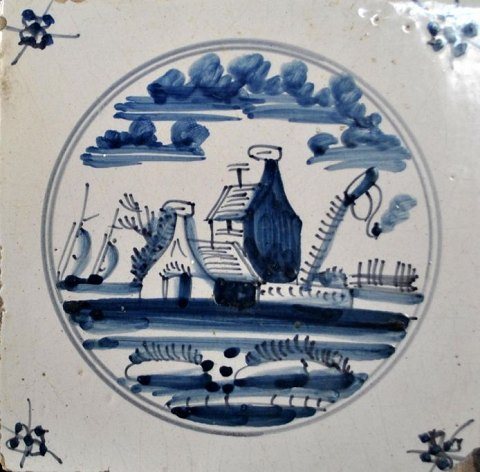 Tiles, landscapes with buildings, 1800 - 1850, The Netherlands.