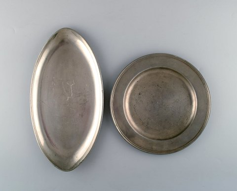 Just Andersen, 2 large Art Deco pewter dishes, Denmark 1930 s.