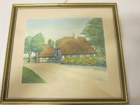 Watercolour, in a frame A watercolour with a beautiful theme from the Broballe / Als, Denmark By Hertha Raben Petersen Fra 1945 39cm x 35cm In a good condition