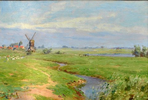 Soya-Jensen, Carl Martin (1860-1912) Denmark: Summer landscape with a river, in the background a mill.