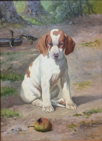 """A pointer puppy"" Oil painting on canvas."