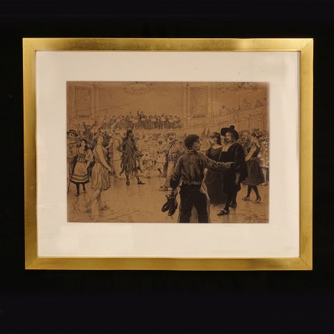 Paul Fischer, 1860-1934: A Masquerade. Pen and pencil. Signed and dated 17th February 1894. Visible size: 33x46cm. With frame: 53x66cm