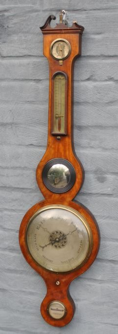 English wheel barometer, 19th century.