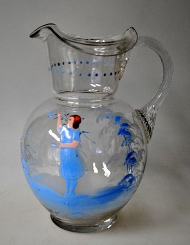 Clear glass jug, 19th century, with enamel decoration.