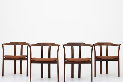 Hans Olsen / CS Møbler Set of four dining chairs in rosewood with light brown leather. 1 set in stock Good condition Location: Roxy Klassik Showroom - Jorisvej 11, 2300 KBH. S.