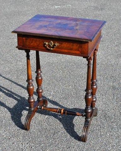 Sewing table, veneered walnut, from 1860 - 1880, Denmark.