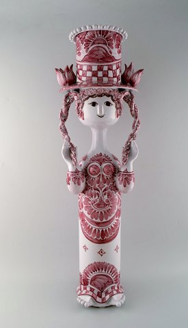 Bjorn Wiinblad: Very rare and monumental female figure of stoneware. Top with flower pot in the shape of a hat.
