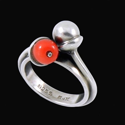 Hans Hansen. Sterling Silver Ring with Coral and silver ball.