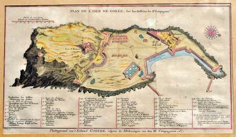 Hand-colored map of the island of Gorèe, 19th century