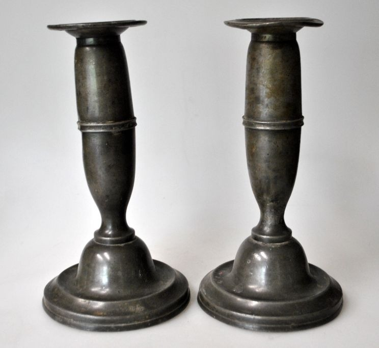 Pair of antique pewter candle sticks, 19th century