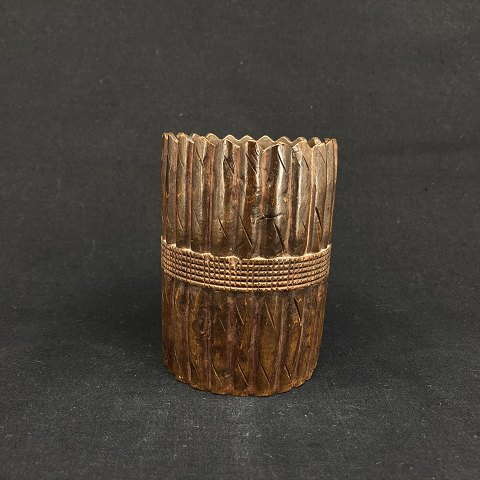 Hand carved cup in wood