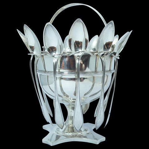 A Danish sugar bowl of hallmarked silver with 12 tea spoons, 1808