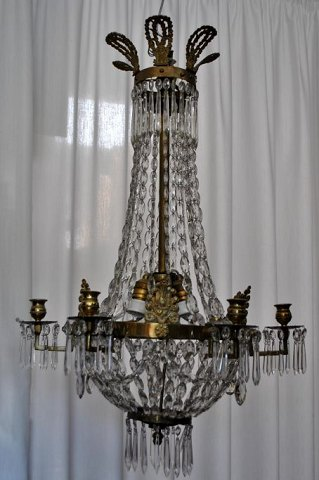 Large Swedish bronze chandelier, 19th century.