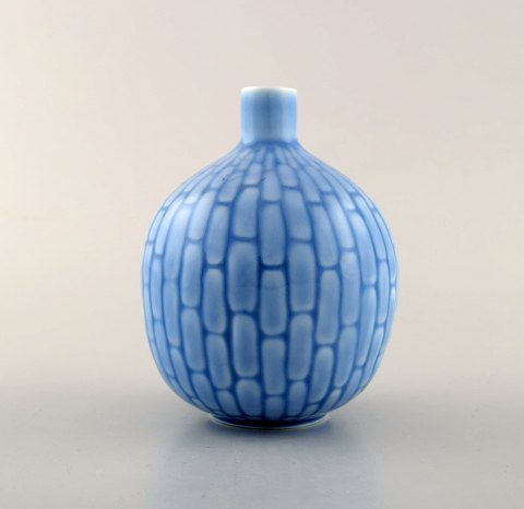 Gold Weinberg for Rørstrand / Rorstrand. Rare art deco ceramic vase in light blue tones with round body. Dated 1935-1938.