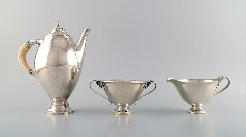 Johan Rohde for Georg Jensen. Rare and early Coffee service in sterling silver. Dated 1919.