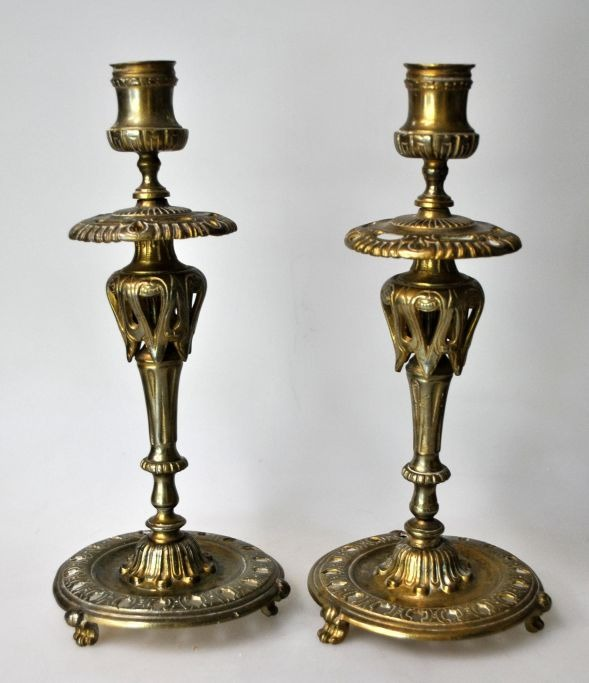 Pair of French bronze chandelliers, 19th century.