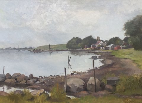 """Motif from Karrebæksminde"" Oil painting on canvas."