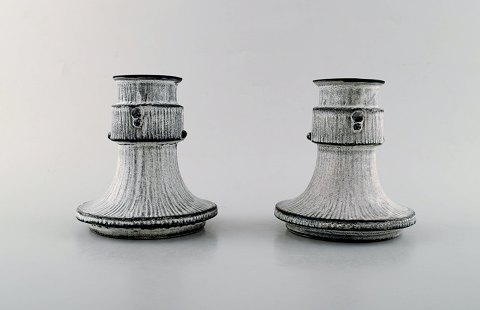 Svend Hammershøi for Kähler, Denmark. A pair of candle holders in glazed stoneware. 1930/40's.