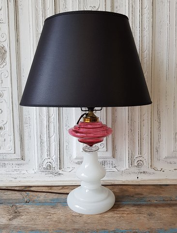 1800s opaline lamp with oil container in pink / raspberry colored glass