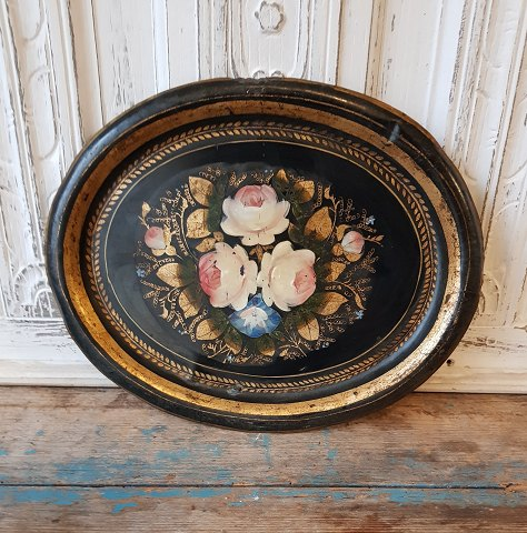 1800s metal tray with beautiful hand-painted floral motif