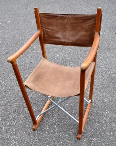 Trip Trap Classic teak folding chair in brown leather. Design: Tepf Parker. 20th century Denmark.